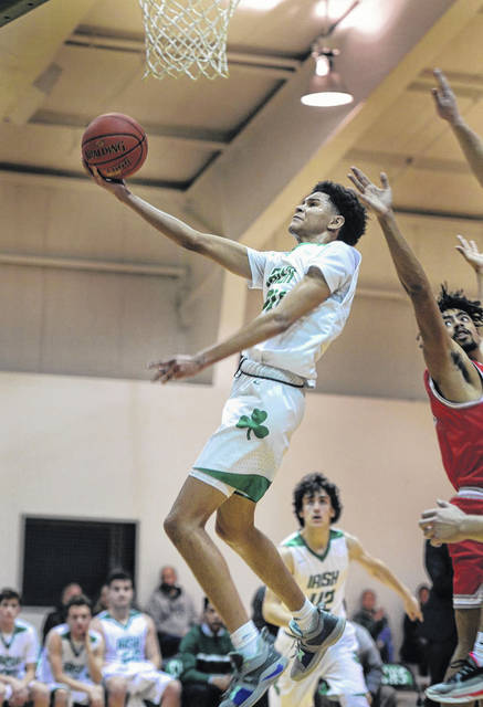 Charleston Catholic junior Aiden Satterfield was named captain of the Class A boys all-state team after averaging 19.1 points and 4.9 rebounds this season for the Irish.