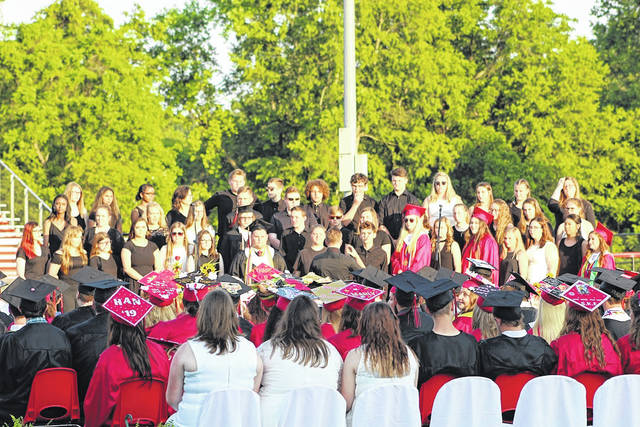 Pictured is a scene from last year's graduation commencement ceremony at Point Pleasant High School. Though this year's commencement is delayed, one is planned, along with a parade. (OVP File Photo)