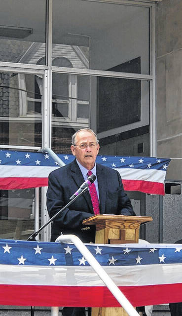 Pictured is the Rev. Bob Wiseman, the 2020 recipient of the Paul J. Chapman Shepherd Recogntion Award, speaking at a previous National Day of Prayer event.