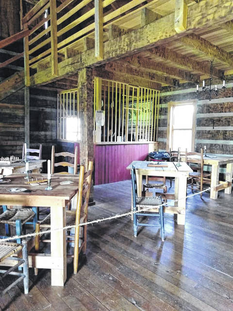 The tavern at Fort Randolph, pictured here, has ropes to keep visitors from touching exhibits to ensure the safety of other guests.
