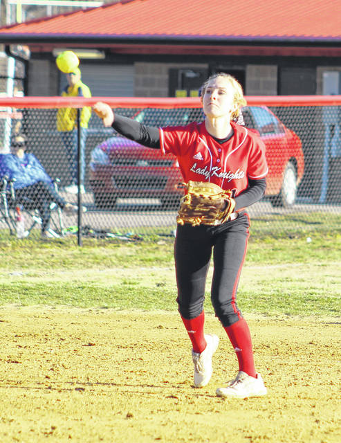 Point Pleasant shortstop Peyton Jordan releases a throw to first base during a March 25, 2019, softball game against Ripley in Point Pleasant, W.Va.
