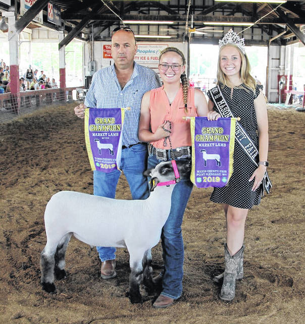 Pictured from the 2019 Mason County Fair Livestock Sale, Hayley Keefer who showed the grand champion lamb sold to City Ice & Fuel, with representative Jimmy Bowser also pictured as well as 2019 Fair Queen Marlee Bruner. (Ashely Durst | Courtesy)