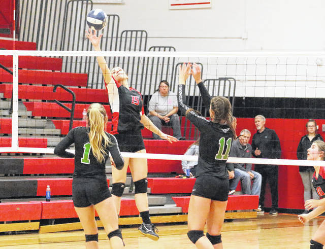 Point Pleasant's Tristan Wilson (15) leaps for a spike attempt during a Nov. 6 Class AA Region IV, Section 1 volleyball match against Winfield at Point Pleasant High School.