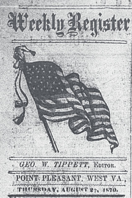 Masthead of the <em>Weekly Register</em>, Aug. 25, 1870, courtesy of Chronicling America.