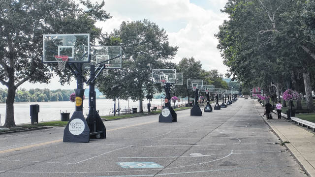 Basketball courts set up end-to-end on First Ave. in Gallipolis, Ohio.