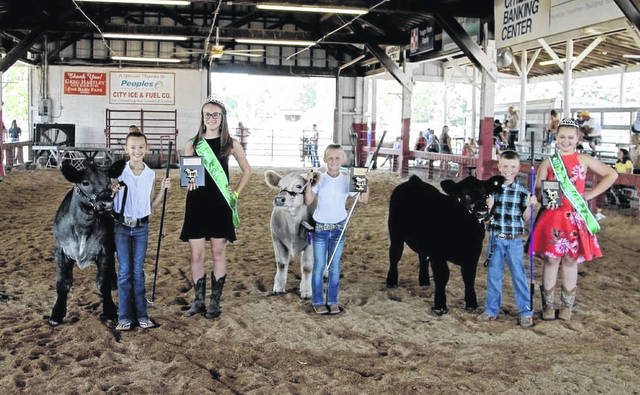 An opportunity for the top showmen (and women) to put their skills exhibiting livestock projects on display returns this week to the Mason County Fairgrounds. Pictured are winners of the 2019 Junior Feeder Calf Showmanship, Eden Johnson, first place; Marlee Carr, second place; Liam Durst, third place. Also pictured, 2019 Junior Miss 4-H Alasaundra Reed, Miss 4-H Karli Stewart, Young Miss 4-H Riley Springston. (Ashley Durst | Courtesy)