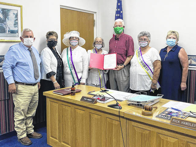 The Mason County Commission signed a proclamation recognizing the 100th anniversary of the 19th Amendment and showed support for today's Women's Right to Vote March in Point Pleasant. (Courtesy)