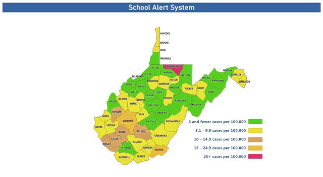 On Tuesday, West Virginia Department of Education (WVDE) has posted the updated School Alert System map that includes the new gold category metric. Pictured is Tuesday's map. (WVDE | Courtesy)