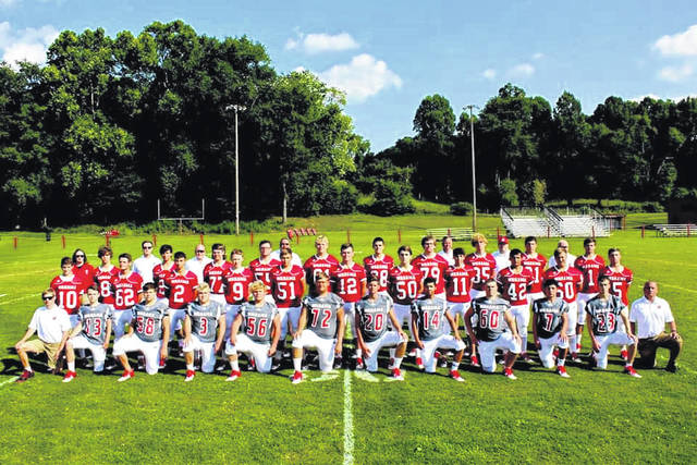 Members of the 2020 Wahama White Falcon Football Team, pictured, have partnered with the Bend Area C.A.R.E. organization to raise funds to help needy children at Christmas. (Courtesy photo by Angelique Johnson)