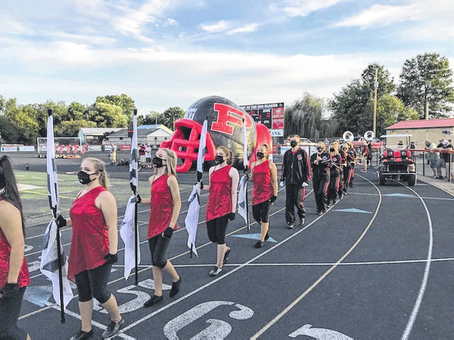 High school football kicked-off for the 2020 season on Friday night in Mason County. The Point Pleasant Big Blacks opened the season at home, hosting the Oak Glen Golden Bears, while the Wahama White Falcons traveled to face the Madonna Blue Dons. Pictured here, the Point Pleasant marching band enters the field before Friday evening's game. Due to early press times, complete game coverage won't appear in print until Tuesday's print edition. However, stories will appear on our websites and Facebook pages as soon as they are available. (Bryan Walters | OVP Sports)
