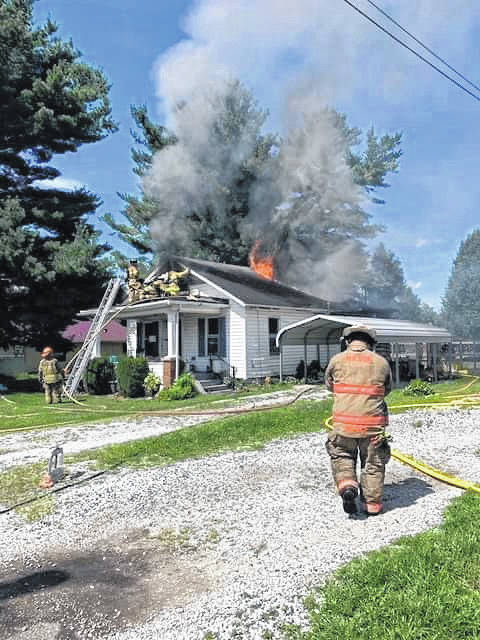 A three-alarm fire destroyed a Mason home Friday afternoon. The call came in around 2 p.m., with the Mason Volunteer Fire Department answering, and later calling in both Pomeroy and New Haven. Pictured is a scene from the blaze. (Courtesy photo by the Mason Fire Department)