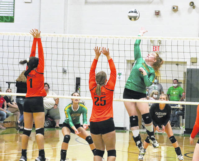 Eastern senior Layna Catlett leaps for a spike attempt during Tuesday night's TVC Hocking volleyball match against Belpre in Tuppers Plains, Ohio.