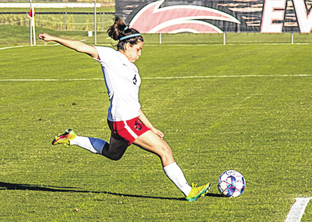 Rio Grande's Lorna Campos scored on a penalty kick with just under 13 minutes remaining to give the RedStorm a 2-1 win over Indiana University Kokomo, Thursday evening, at Evan E. Davis Field.