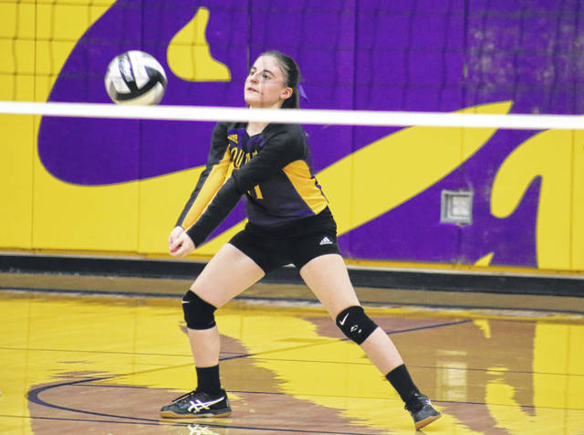 Southern junior Brooke Crisp receives a serve, during the Lady Tornadoes' non-conference match on Wednesday in Racine, Ohio.