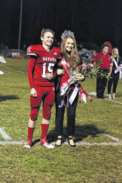 Mary Grace Roush, pictured, has been crowned the 2020 Wahama High School Homecoming Queen. Roush was escorted by Owen Richardson, also pictured. Roush was crowned Friday night amid homecoming festivities observed at halftime, during the varsity football game. (Bryan Walters | OVP)
