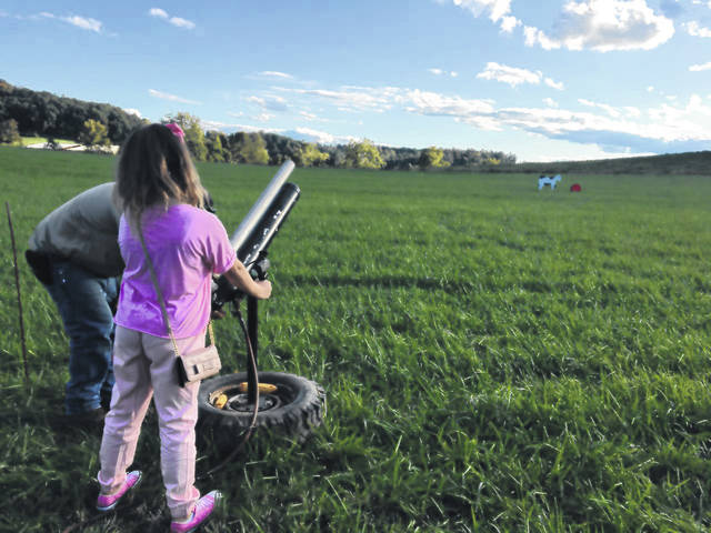 """""""Fall Fun"""" at the Gallia County Jr. Fairgrounds, consists of a corn maze, a pumpkin patch, hayrides, and a corn cannon (pictured) that shoots ears of corn at impressive distances, according to a press release sent to the <em>Gallipolis Daily Tribune</em>. (Courtesy)"""