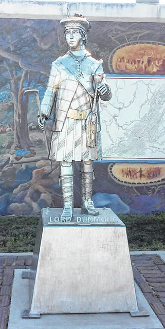 Artist Bob Roach's stainless-steel statue of Lord Dunmore in Point Pleasant's Riverfront Park. (Chris Rizer | Courtesy)
