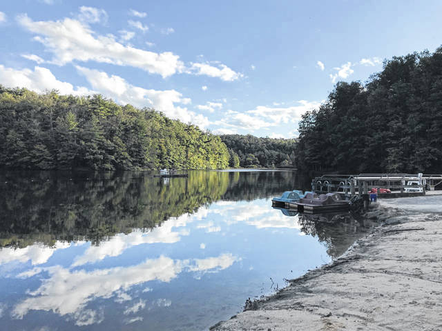 The West Virginia Division of Natural Resources (WVDNR) began stocking 50,000 trout in 39 lakes and streams around the state last week, including Pipstem State Park, pictured here earlier this month. (Beth Sergent | OVP)