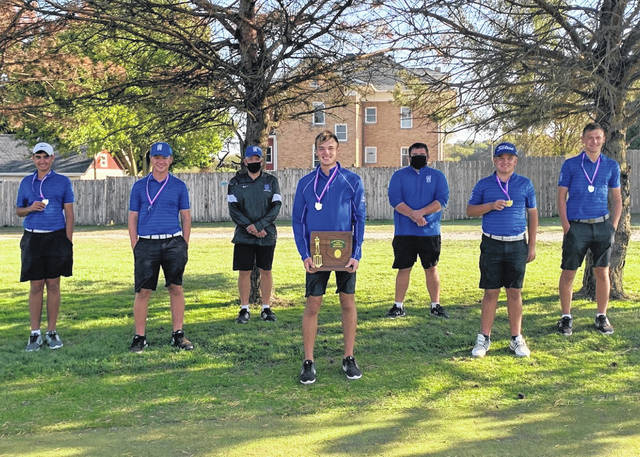 Pictured are the winning members of the Division II Southeast District boys golf championship from Gallia Academy. Standing, from left, are Laith Hamid, Hunter Cook, GAHS head coach Mark Allen, Cooper Davis, GAHS assistant coach Mark Allen II, William Hendrickson and Beau Johnson.