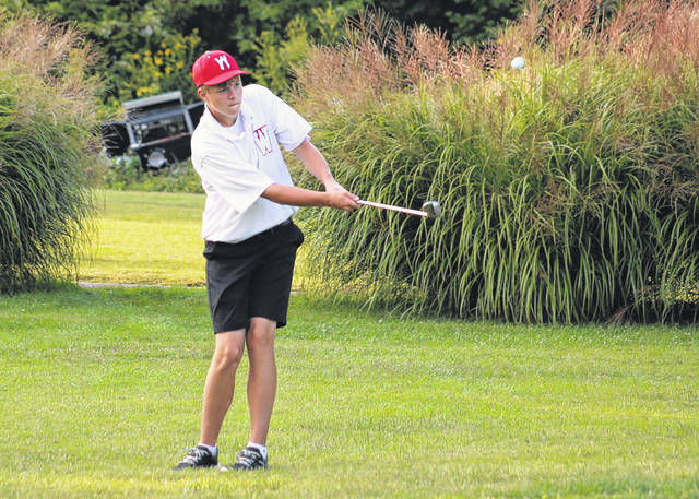 Wahama sophomore Ethan Gray hits a chip shot during a Sept. 22 golf match at Riverside Golf Course in Mason, W.Va.