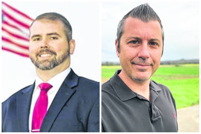Pictured from left, Johnnie Wamsley and Chris Yeager, candidates for House of Delegates, 14th District. (Courtesy)