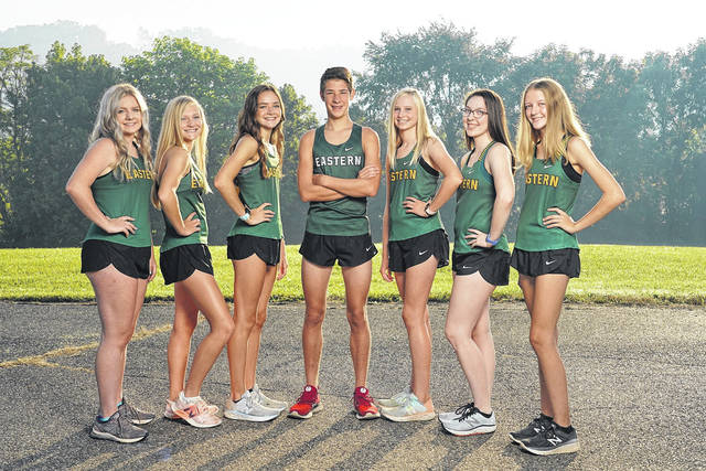 Pictured above are members of the 2020 Eastern varsity cross country team. Standing from left to right are Whitney Durst, Ashton Guthrie, Erica Durst, Brayden O'Brien, Abby Guthrie, Alysa Howard and Karey Schreckengost.