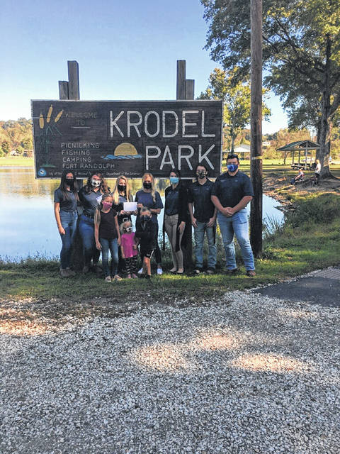 The Mason County Vocational FFA Chapter recently donated $500 to the future Krodel Dog Park. Pictured in the back row from left are Hannah Wood, Shaya Robinson, Crimson Cochran, Meagan Bonecutter, Clariy Keefer, Riley Oliver and Trenton Mayes; front row, from left are Berklee, Beyler and Behr Bonecutter. (Mason County Vocational FFA | Courtesy)