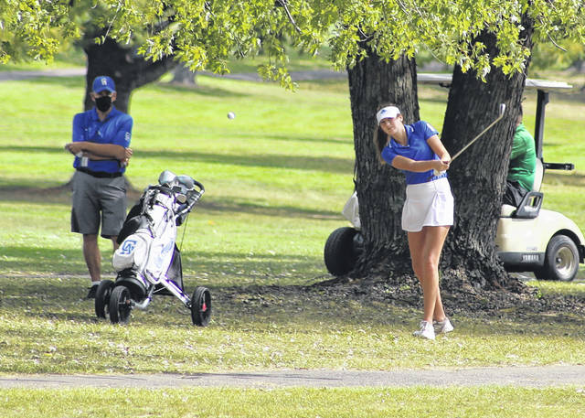 Gallia Academy junior Abby Hammons hits a shot from the fairway on hole No. 18 during the Division II Southeast sectional tournament held Sept. 28 at Franklin Valley Golf Course in Jackson, Ohio.