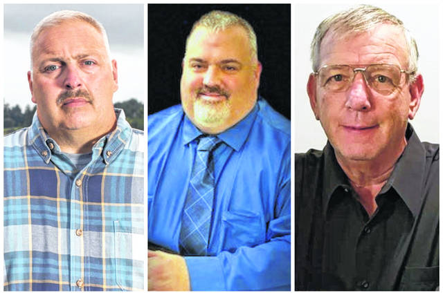 """Pictured from left, Robert E. """"Rob"""" Fruth (I), Corey J. Miller (R), Ronnie Spencer (D). The three men are running for Mason County Sheriff. (Courtesy)"""