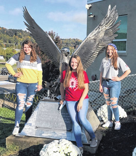 Three senior girls will be vying for the title of Wahama Homecoming Queen during halftime of the football game on Friday evening. Candidates include, from left, Harley Roush, Mary Grace Roush, and Kaylee Ferguson.