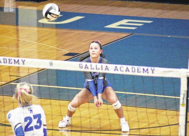 GAHS sophomore Jenna Harrison receives a serve, during the Blue Angels' match on Oct. 21 in Centenary, Ohio.