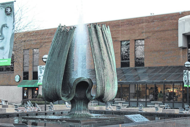 The fountain at Marshall University, prior to last Saturday's remembrance ceremony . (Bryan Walters | OVP)
