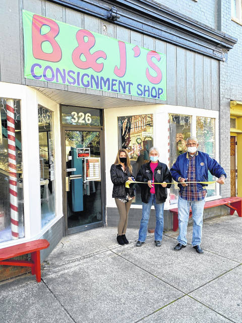 B & J's Consignment Shop, located in the 300-block of Main Street in downtown Point Pleasant, recently celebrated a ribbon cutting. The store takes clothing in for resale. When clothing sells, the shop keeps 50% and returns 50% to the person who brought the clothing in for resale. Pictured from the City of Point Pleasant welcoming the business is City Clerk Amber Tatterson and Barbara and John Kersey from the shop. Hours are Monday - Saturday, 1o a.m. - 4:30 p.m., closed on Sundays. Call 304-675-6900 for more information. (Shannon Myers | Courtesy)