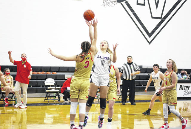River Valley senior Hannah Jacks (2) shoots a two-pointer over South Gallia's Tori Triplett (3), during the Lady Raiders' five-point win on Tuesday in Bidwell, Ohio.
