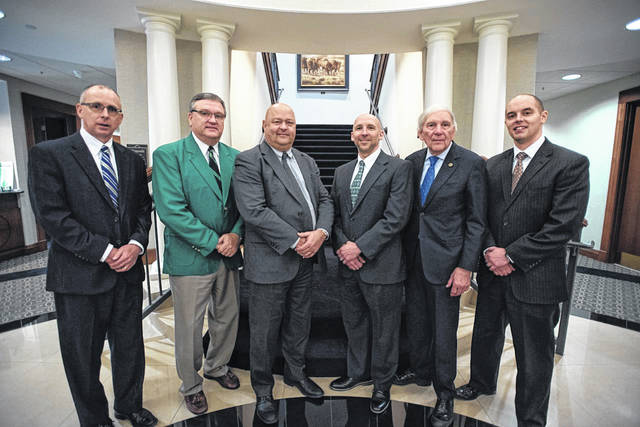 Ohio Valley Bank executives are pictured at the Marshall University Foundation this past February after making a $50,000 gift to the university. Pictured, from left, Larry Miller, president and chief operating officer; Bryan Stepp, executive vice president, lending/credit; Tom Wiseman, chairman and CEO; Jon Jones, assistant cashier, western Cabell region manager; Mario Liberatore, president West Virginia; and Ben Pewitt, vice president, business development. (Marshall | Courtesy)