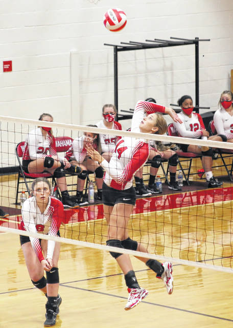 Wahama senior Emma Gibbs goes up for a spike attempt during a Sept. 15 contest against Lincoln County at Gary Clark Court in Mason, W.Va.