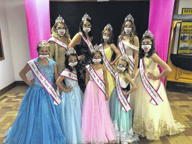 Pictured are 2021 Miss West Virginia Rhododendron Royalty. Front row, from left: Junior Miss, Vivienne Montgomery; Little Miss, Mia Park; Young Miss, Harlee Houdersheldt; Tiny Miss, Ella Grant; and Pre-Teen Miss, Leela Williams. Back row, from left, Mrs, Amanda Fellure; Miss, Campbell Moore; Teen Miss, Madison Burnside; and Ms., Jayda McHorney. Royalty will now compete in the Miss West Virginia Elementary, Jr. High, High, and Collegiate America Pageant.