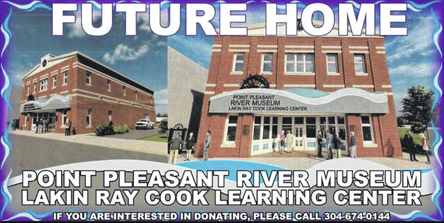 This banner shows the planned exterior design of the future Point Pleasant River Museum and Lakin Cook Learning Center.