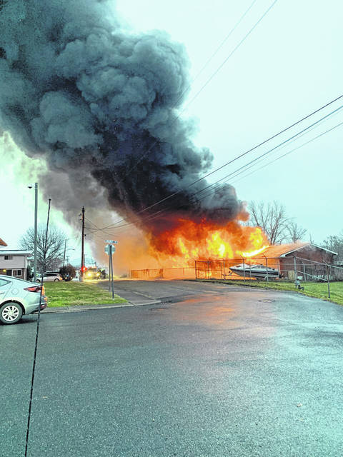 Firefighters from the Point Pleasant Fire Department, with assistance from the Gallipolis, Flatrock and Mason fire departments, battled this blaze on Second Street on Thursday. (Point Fire Department | Courtesy)