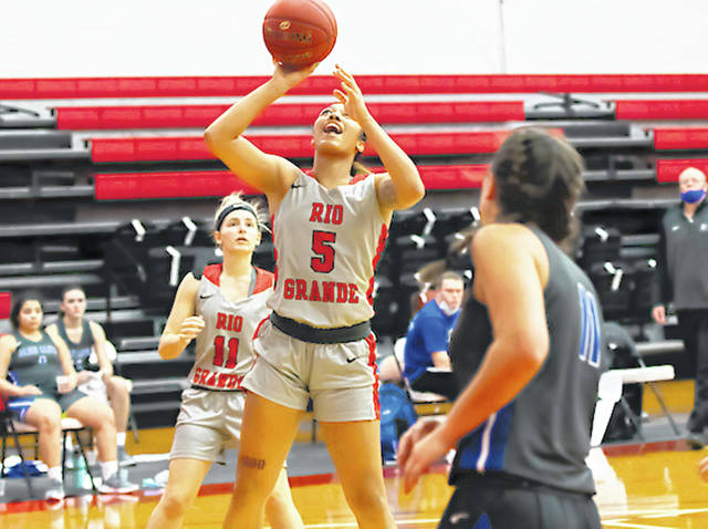 Rio Grande's Hailey Jordan had a game-high 19 points and four blocked shots in Tuesday's 68-58 win over Oakland City University in Oakland City, Ind. Jordan also pulled down a team-high 10 rebounds for the RedStorm, who moved over the .500 mark for the first time this season.