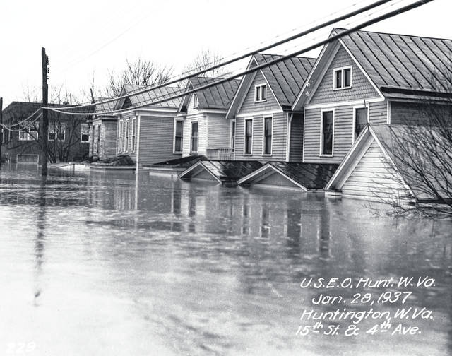 A scene from the 1937 flood along the Ohio River. (West Virginia Humanities Council | Courtesy)