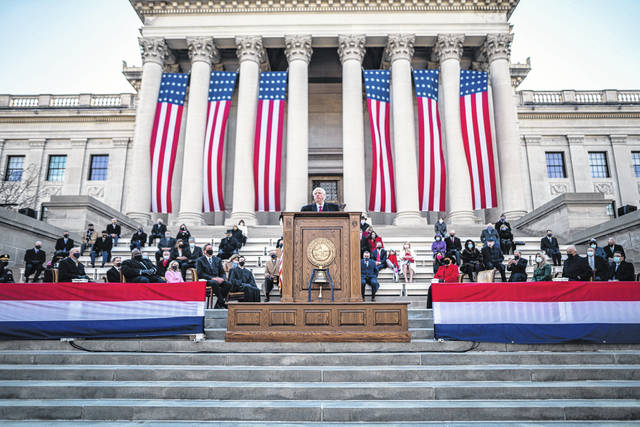 Gov. Jim Justice speaks on the steps of the West Virginia State Capitol building on Friday during his inauguration. This photo of the ceremony was provided by the governor's office. (Courtesy)