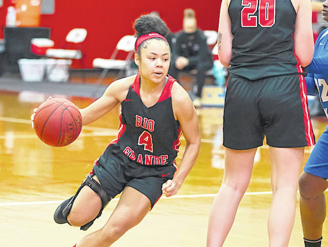 Rio Grande's Chyna Chambers had a team-best 17 points and a game-high nine assists in Tuesday night's 95-78 victory over Campbellsville University-Harrodsburg at the Conover Center in Harrodsburg, Ky.