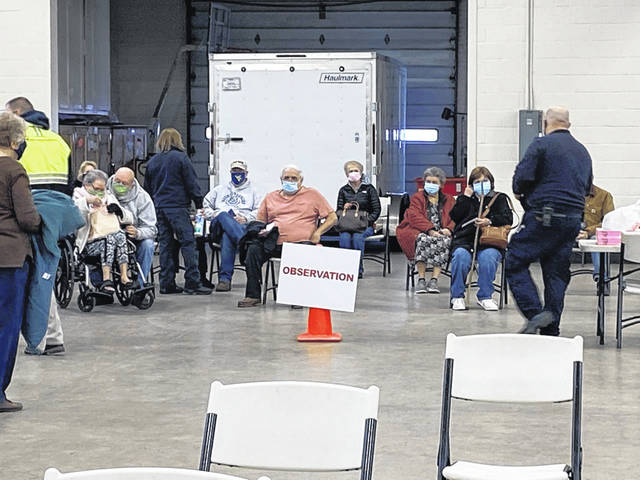 Once a person receives the COVID-19 vaccine they are asked to wait in the observation area for 15 minutes. Pictured is the observation area of a recent vaccine clinic held at the National Guard Armory in Point Pleasant. (Pleasant Valley Hospital | Courtesy)