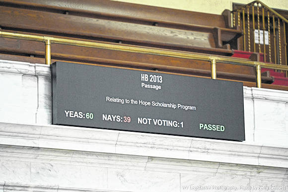 On Friday, House Bill 2013, the Hope Scholarship Program, which passed the House Thursday, was reconsidered and recommitted to the Committee on Finance. It has been recommitted to consider the new fiscal note, according to the West Virginia Legislature Blog. Pictured is Thursday's vote totals on the bill. (West Virginia Legislative Photography, Photo by Perry Bennett)