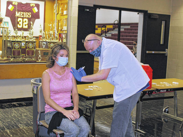 Meigs Local School District staff received their first dose of the COVID-19 vaccine on Thursday morning. The vaccines were administered by Fruth Pharmacy.