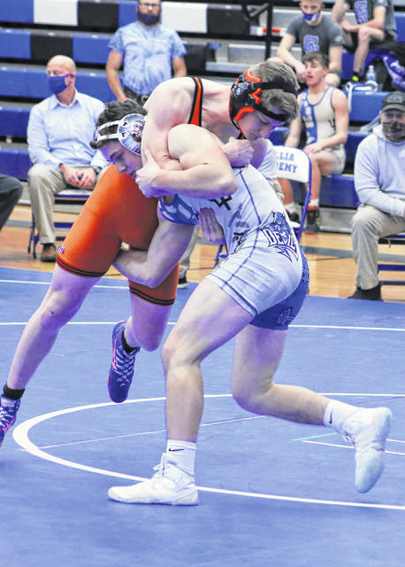 Gallia Academy freshman Cole Hines gains leverage on an opponent during a 145-pound match held on Jan. 5 at GAHS in Centenary, Ohio. (Bryan Walters|OVP Sports)