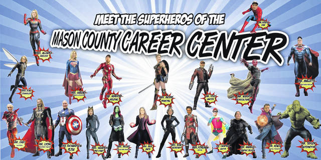 The bulletin board at the Mason County Career Center features teachers and staff as superheroes.