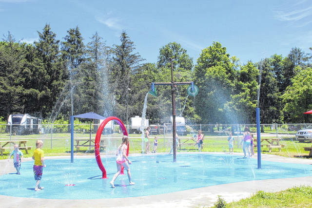 Pictured is the Krodel Park Splash Pad prior to the pandemic. This year, the splash pad is set to reopen on Memorial Day Weekend, depending on COVID-19 trends in the community. (OVP File Photo)