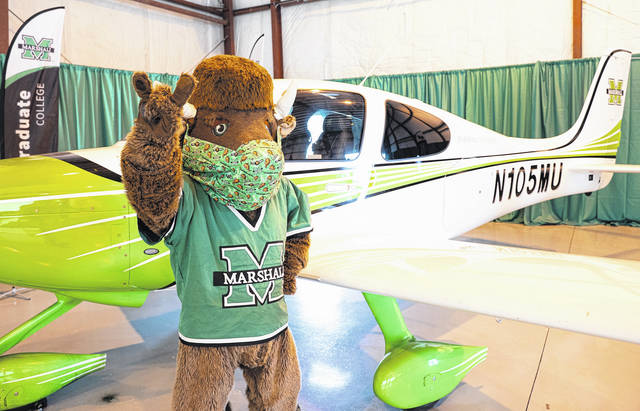 Officials with Marshall University and Mountwest Community & Technical College, along with the Robert C. Byrd Institute (RCBI), last week ceremonially broke ground at Huntington Tri-State Airport for their joint Aviation Maintenance Technology (AMT) program. Pictured is Marco, Marshall's mascot. (Marshall University Courtesy | Photo by Austin O'Conner)